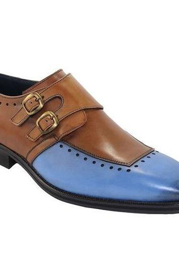 Handmade Blue Brown Monk Double Buckle Strap Original Leather Toe Men Shoes