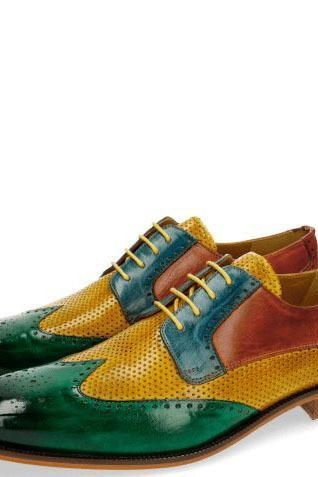 Handmade Men's Multi color Wingtip Brogue lace up Dress Shoes