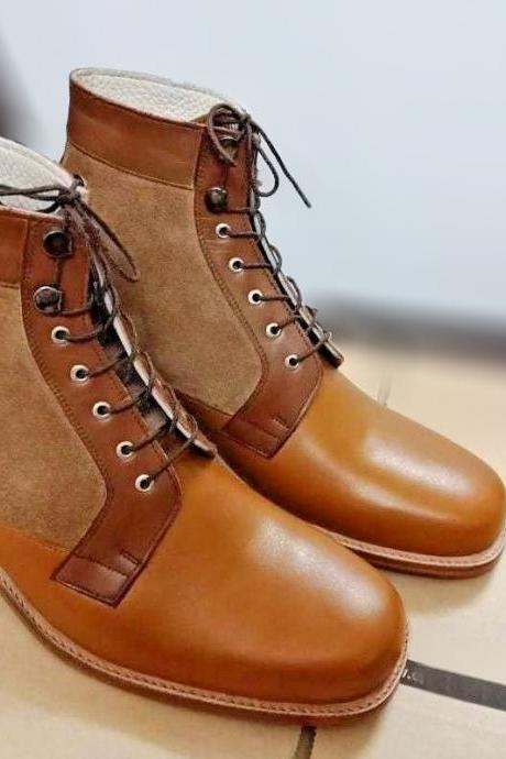 Handmade Tan Boot, Men's Ankle High Boot, Lace Up Leather Suede Boot