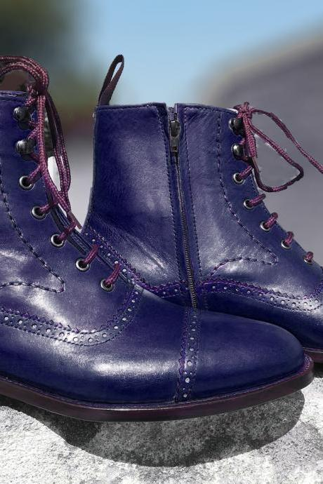 Handmade Men Navy Blue Dress Boot, Designer Ankle High Lace Up Boot