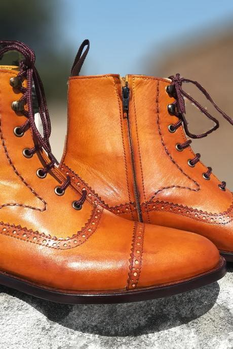 Handmade Tan Side Zipper Boot, Ankle High Lace Up Leather Boot
