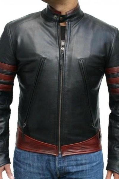 Handmade Stylish Slim Fit Jacket, Men's Black Brown Biker Leather Jacket