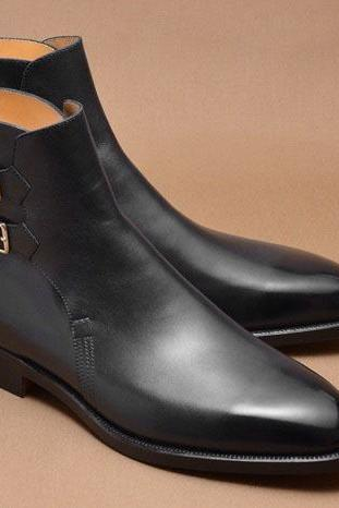 New Handmade Men Black Buckle Leather Jodhpurs, Leather Dress Formal Ankle Boots