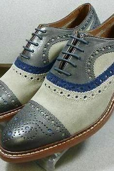 New Handmade Gray Cream Blue Suede Leather Shoes, Cap Toe Lace Up Dress Formal Shoes