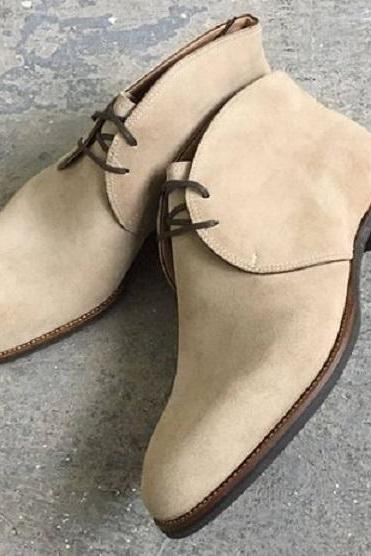 Handmade Men Beige Color Derby Formal Boot, Beige Chukka Suede Dress Formal Boot