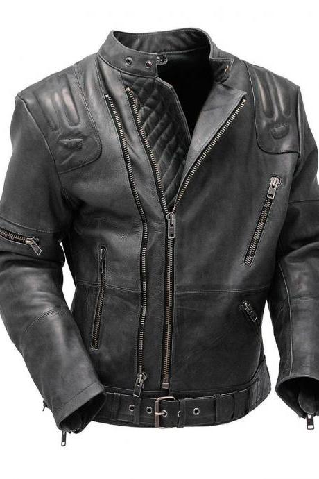 Men's Double Zipper Genuine Leather Jacket, Men's New Biker Slim Fit Jacket