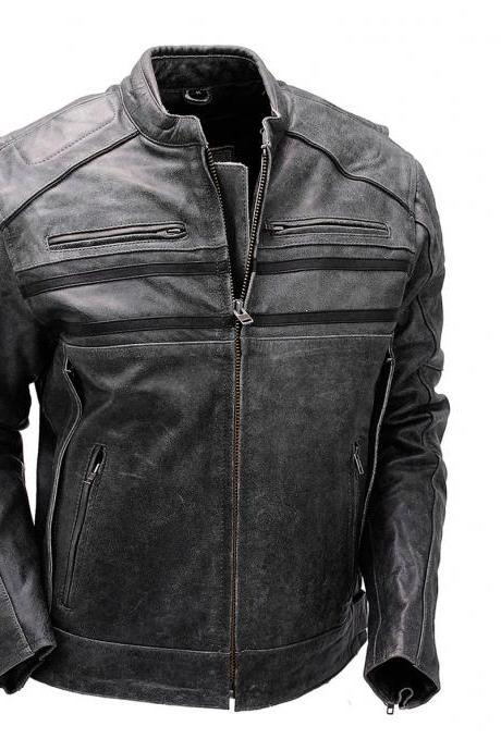 Handmade Men's Genuine Leather Jacket, Men's New Biker Fashion Jacket