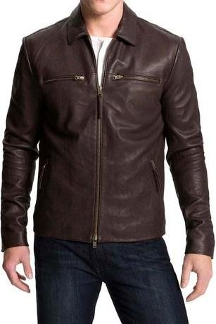 Handmade Men's Genuine Leather Jacket, Men's New Brown Simple Biker Fashion Jacket