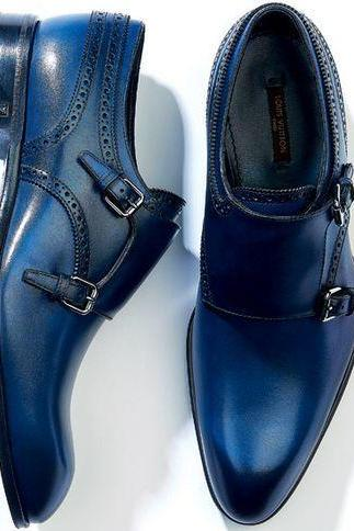 Handmade Blue Color Leather Shoes, Men's Double Monk Dress Shoes