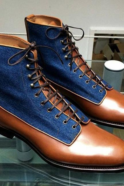 Handmade Men's Brown blue Denim boot, Men Leather suede Ankle High Boot