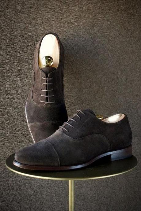 Handmade Men's Dark Brown Suede shoes, Men Cap Toe Lace Up Formal shoes