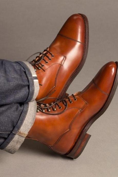 Handmade Men's Brown Color Formal boot, Men Leather Cap Toe Ankle High Boot