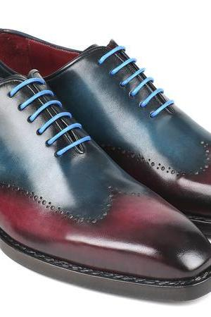 Handmade Blue Burgundy Leather Shoes, Men's Wing Tip Lace Up Dress Shoes