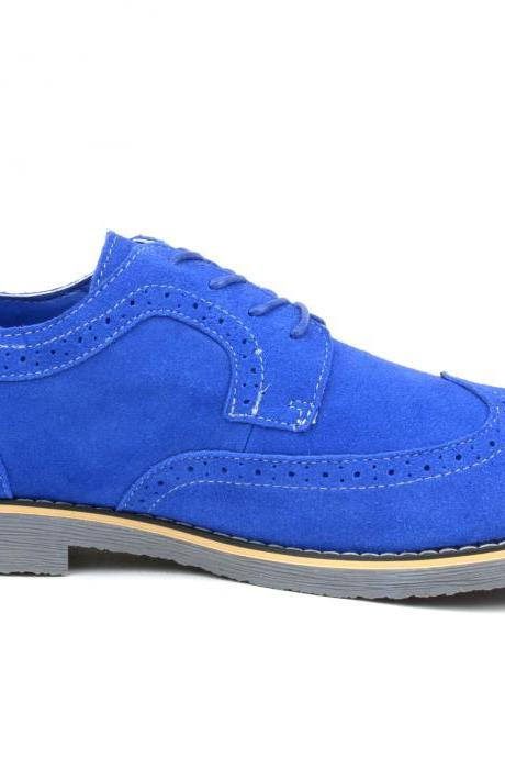 Handmade Blue Color Suede Shoes, Men's Wing Tip Lace Up Brogue Dress Shoes