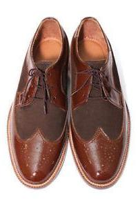 Handmade 2 Tone Brown Leather Suede Shoes, Men's Wing Tip Lace Up Brogue Dress Shoes