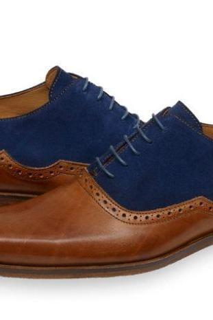 Handmade 2 Tone Blue Brown Leather Suede Shoes, Men's Lace Up Dress Shoes