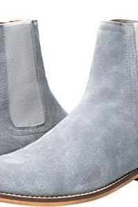 Handmade Men's Gray Color Formal boot, Men's Suede Chelsea Ankle High Boot
