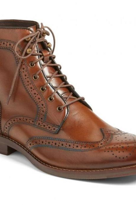 Handmade Men's Brogue Formal Boot, Men's Brown Leather Wing Tip Formal Boot