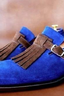 Handmade Men's Oxford Tassels Shoes, Blue Brown Suede Monk Strap Formal Shoes