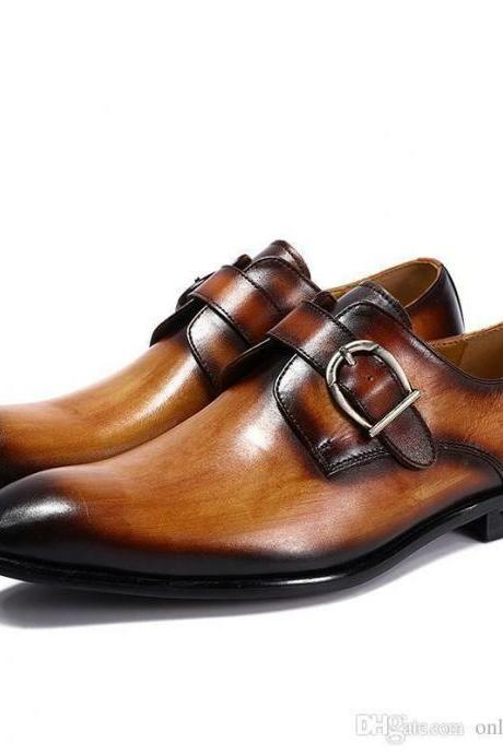 Handmade Men's Classic Collection, Tan Brown leather Monk Strap Formal Shoes