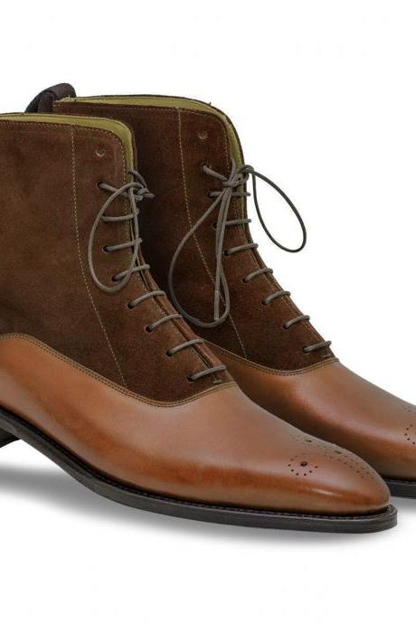 Handmade Men's Classic Ankle High Boot, Brown Leather & Suede Lace Up Formal Boot