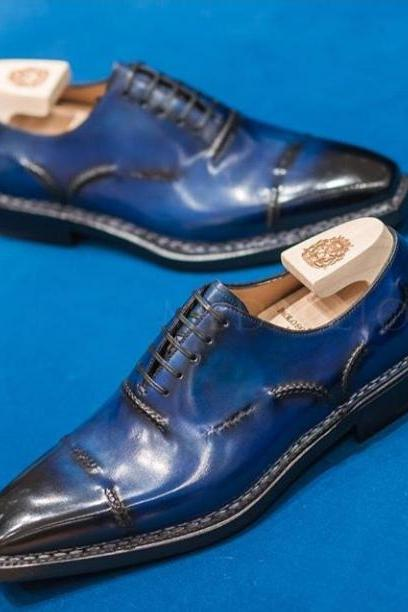 Men's Handmade,Brogue Black Blue Two Tone Leather Wing Tip Lace Up Dress Shoes