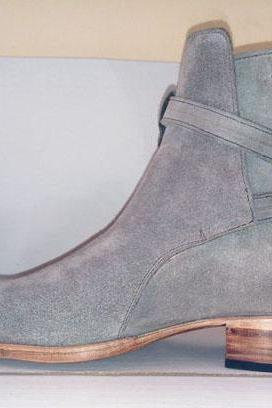 Handmade Men's Jodhpurs Boot, Men's Gray Suede Buckle Casual Fashion Boot