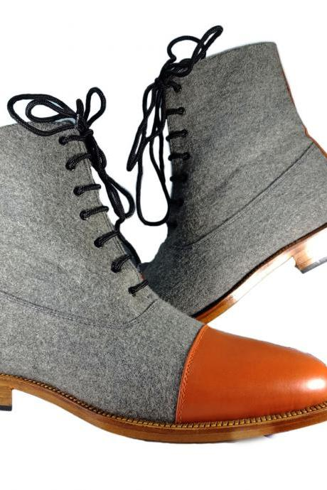 Handmade Men's Ankle High Boot, Men's Tan Brown Leather & Tweed Cap Toe Lace Up Casual Boot.