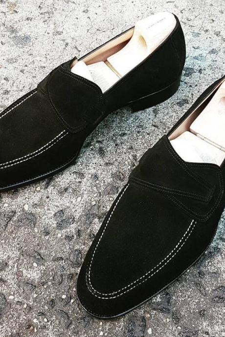 Handmade Men's Loafer Shoes, Men's Black Suede Loafer Casual Fashion Shoes