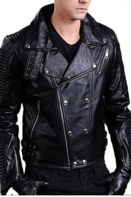 MEN Motorcycle Lambskin Leathers JACKET Genuine Leather Jacket , Men's Leather Jacket