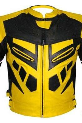 MOTORCYCLE SPEED RACING ARMOR LEATHER JACKET YELLOW , Men's Leather Jacket