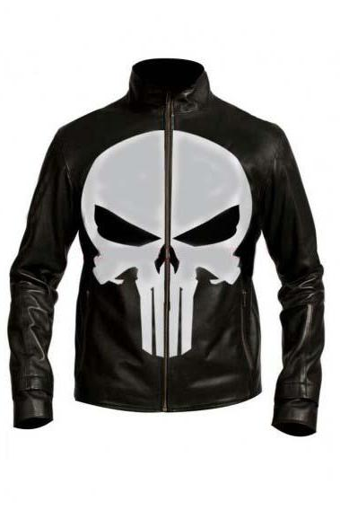 Punisher Skull Black leather jacket , Men's Leather Jacket