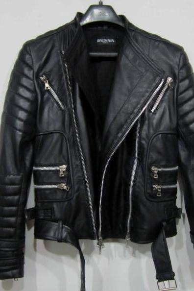 BALMAIN BLACK LEATHER RIBBED BELTED BIKER JACKET