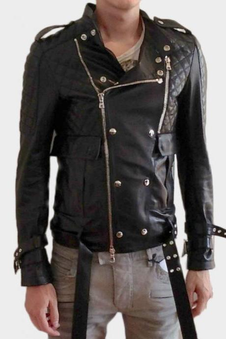 BALMAIN BLACK LEATHER BIKER JACKET NEW EDITION