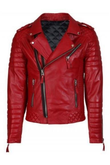 Red Fashion Leather Jacket Men's 2016