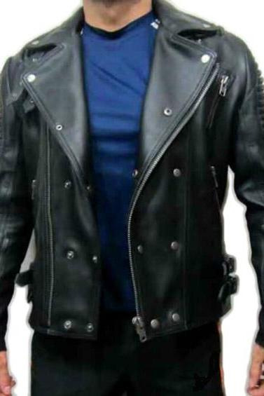 CLASSIC BLACK LEATHER BALMAIN JACKET LAMBSKIN MEN'S 2016