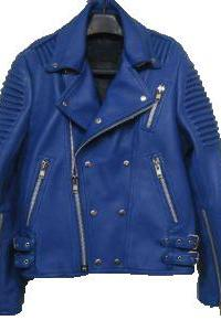 LAMBSKIN BLUE LEATHER BALMAIN JACKET MEN'S 2016