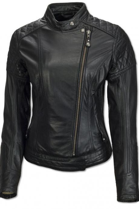 WOMEN BLACK CUSTOM MOTORBIKE JACKET 2016