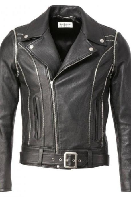 YSL BLACK CLASSIC OFF CENTER LEATHER JACKET 2016 MEN'S