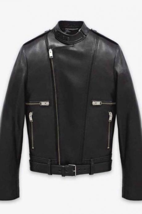YSL CLASSIC BELTED MOTORCROSS JACKET IN BLACK LEATHER MEN'S 2016