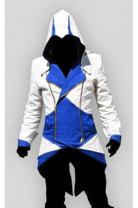 Classic Assassin's Creed Blue Conner Kenway JacketCoat Men's leather jacket 2016