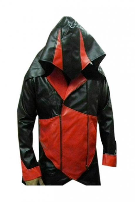 Assassins Creed 3 Classic Black Red Leather Jacket Men's 2016