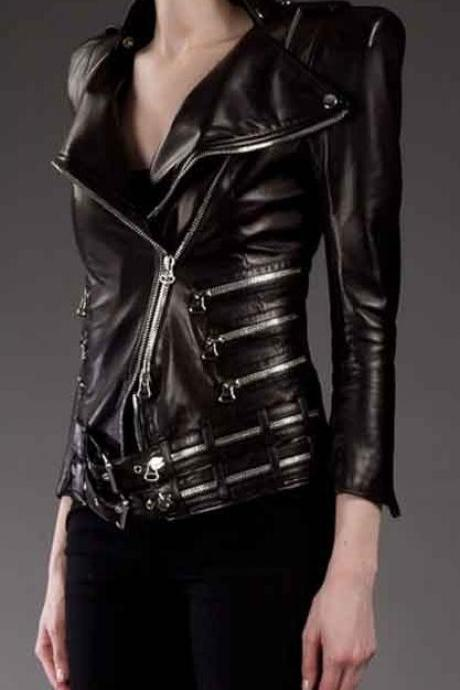 WOMAN'S BALMAIN BLACK ZIP DETAIL LEATHER JACKET 2016