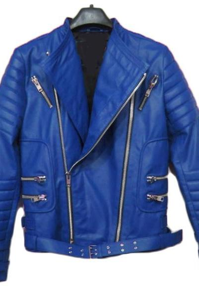 BALMAIN CLASSIC LEATHER RIBBED BIKER JACKET BLUE NEW SPECIAL MEN JACKET