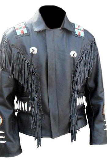 Classic Black Western Cowboy Style Leather Jacket Men's 2016