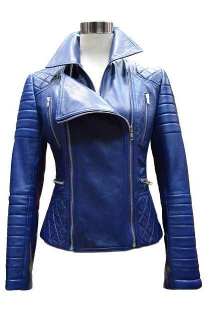 Woman Custom made Classic Blue Leather Jacket Biker Jacket 2016