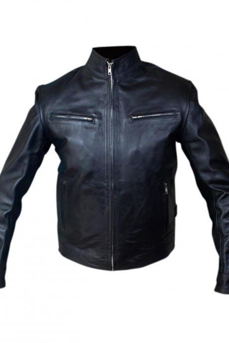Fast and Furious 6 Men's Black Dominic Toretto Vin Diesel Genuine Leather Jacket 2016