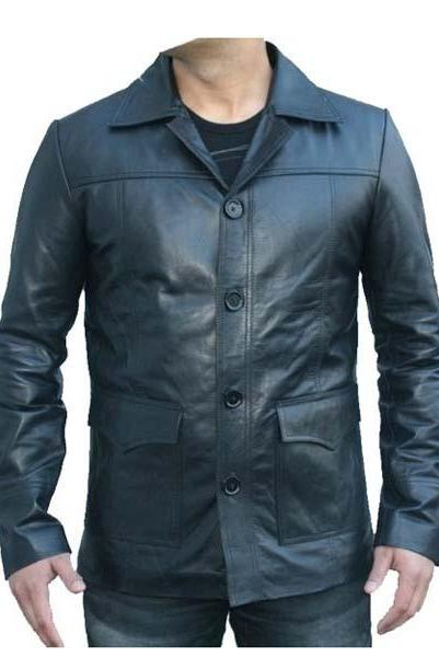 Fight Club Classic Black Leather Jacket Men's Bikers Coat Buttons 2016