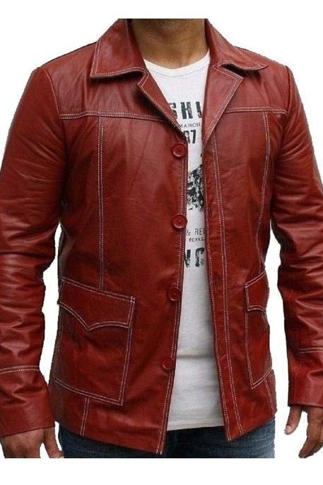 Fight Club Red Genuine Classic Leather Jacket Strike Men's 2016