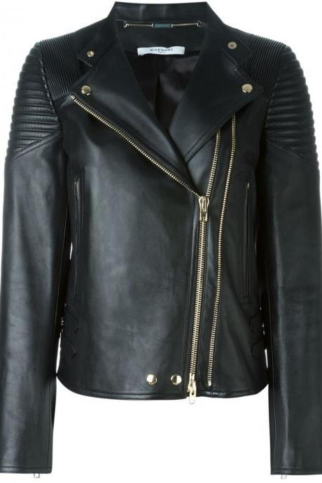 GIVENCHY WOMAN CLASSIC BLACK LEATHER JACKET 2016
